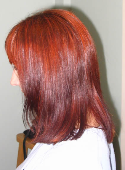 Jackie used Renaissance pure henna to go from light brown to a striking auburn. Although she had set out intending to use indigo powder after henna, she loved the auburn hair colour result so much she decided to stick with pure henna !