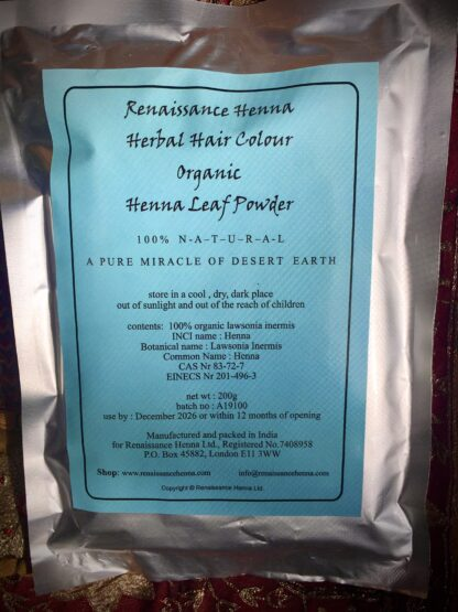 organic natural henna hair dye packet