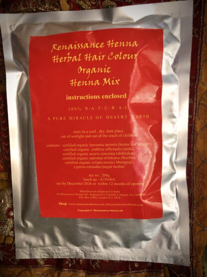 packet of Renaissance Henna natural auburn hair dye herbal henna mix