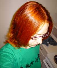 Elaine 2 MY HAIR IMMEDIATELY AFTER FIRST HENNA APPLICATION