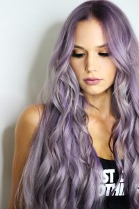 Purple Highlights in Blonde Hair. Hibiscus Purple Plant hair Colour for Blondes