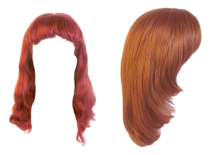 Strawberry Blonde Hair Colour Cut Outs on Blank White Background