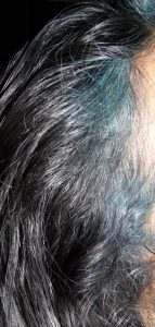 Black hair with Indigo Blue Smudge
