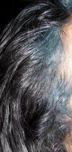Black hair with Indigo Blue Smudge