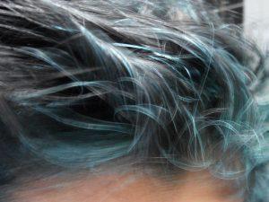 Blue Hair with Indigo in Grey Hair