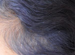 Purple hair Colour fading indigo in grey hair