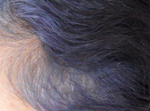 Purple hair Colour fading indigo in grey hair