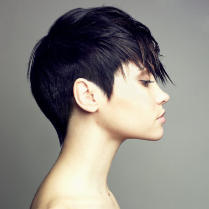 woman with short black hair dyed hair