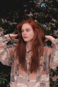 woman with long henna hair